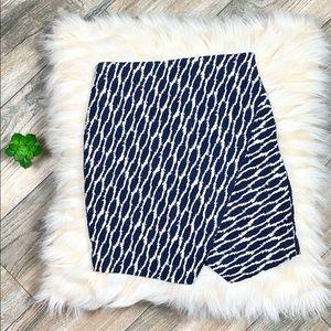 LOFT Navy Patterned Asymmetrical Skirt